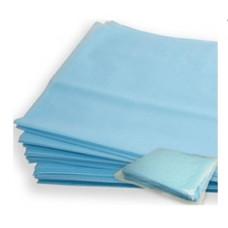 Простыня хирургическая нестерильная пл.40 200см*80см спанбонд ламинированная, голубая